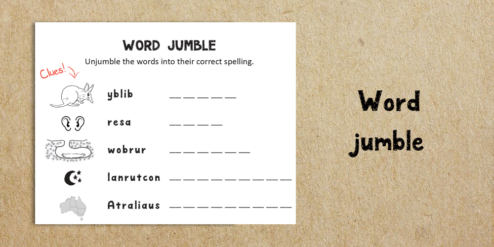 word jumble - Website Activities