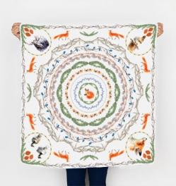 Square scarf mock up - winter fox